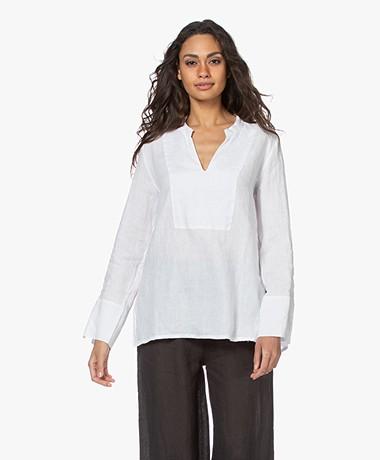 LaSalle Linen Bib Slit Neck Blouse - White