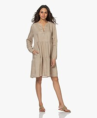 Repeat Pleated Linen A-line Dress - Pepper