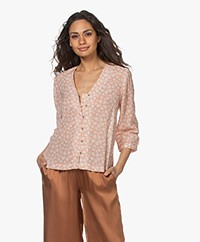 indi & cold Floral Printed Voile Blouse - Terracotta