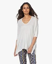 Sibin/Linnebjerg Elfa Fine Knit Viscose Blend Sweater - Off-white