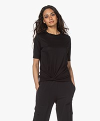 Repeat Lyocell Blend Short Sleeve Sweater with Knot Detail - Black