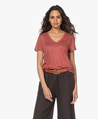 Repeat Linnen V-hals T-shirt - Cinnamon