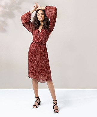By Malene Birger Crepe Georgette Print Dress - Red Clay