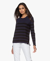 Majestic Filatures Soft Touch Striped Long Sleeve - Black/Blue