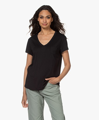 Repeat Lyocell Mix V-hals T-shirt - Zwart