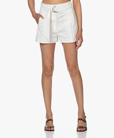 ba&sh Aris Cotton High-rise Shorts - Chalk