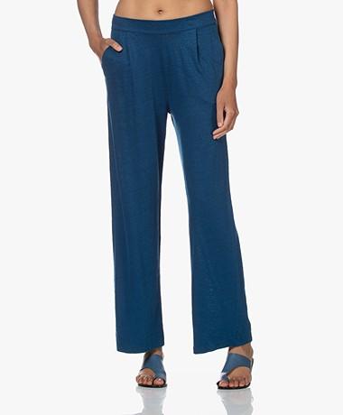Majestic Filatures Jersey Linen Blend Pull-on Pants - Indigo