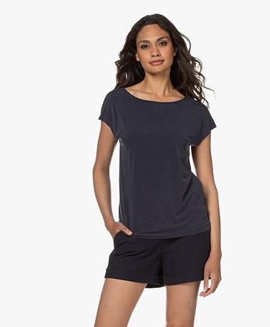 Plein Publique Le Calin Cupro T-shirt - Donkerblauw