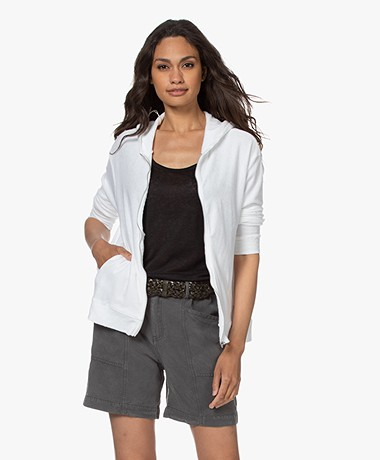 Majestic Filatures Terry Hooded Cardigan - White