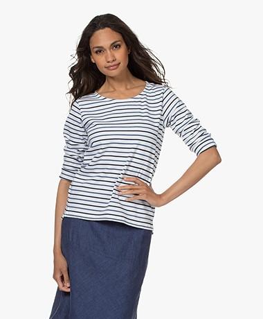 Plein Publique Striped Long Sleeve L'Aimee - White/Blue/Jeans