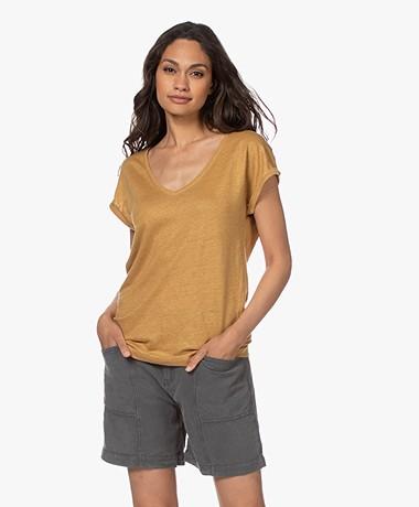 by-bar Mila Linen V-neck T-shirt - Harvest