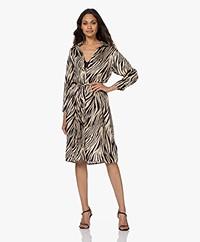 Plein Publique Le Soleil Viscose Printed Shirt Dress - Zebra
