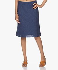 Belluna Horizon Linen A-line Skirt - Blue Melange