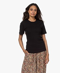 by-bar Jade Rib Knitted Cotton Top - Black