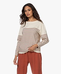 Closed Striped Cotton Long Sleeve - Red Plum