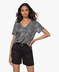 Rails The Cara Linnenmix Dierenprint T-shirt - Heather Lynx