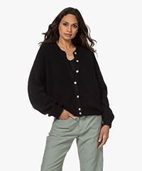 American Vintage Zabidoo Kort Mohairmix Vest - Zwart