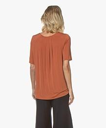Drykorn Estell Cupro Jersey T-Shirt - Terracotta
