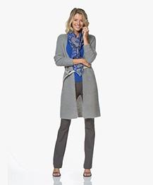 Kyra & Ko Lenne Viscose Sjaal met Bladerenprint - Blauw
