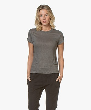 IRO Third Pure Linen T-shirt - Dark Grey