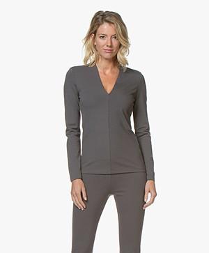 Kyra & Ko Flavia Viscose Interlock Long Sleeve - Grey