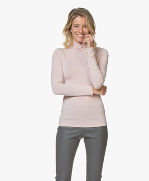Majestic Filatures Viscose Jersey Colshirt - Rose Poudre