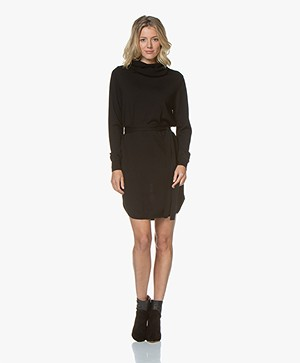 Sibin/Linnebjerg Juliette Sweater Dress with Optional Turtleneck Collar - Black