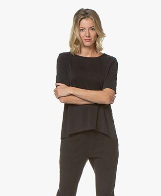 Drykorn Estell Cupro Jersey T-Shirt - Zwart
