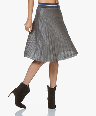 Kyra & Ko Beaudine Metallic Plisse Skirt - Grey