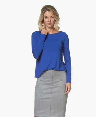 Kyra & Ko Inka Viscose Jersey Boatneck Long Sleeve - Blue