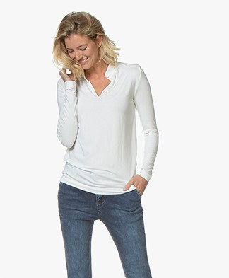 Kyra & Ko Elaine Viscose Jersey Long Sleeve T-shirt - Cream