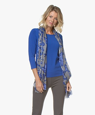 Kyra & Ko Lenne Viscose Scarf with Leaf Print - Blue