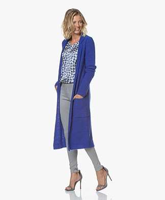 Kyra & Ko Rhode Long Open Boucle Cardigan  - Blue