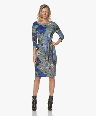 Kyra & Ko Natja Floral Dress with Optional Tie Belt - Silver