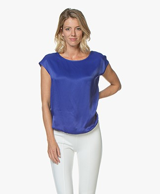 Kyra & Ko Noralie Satin Blouse - Blue