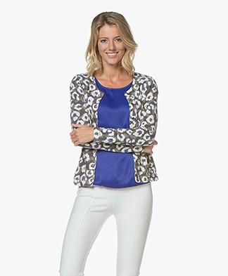 Kyra & Ko Belle Leopard Print Cardigan - Grey
