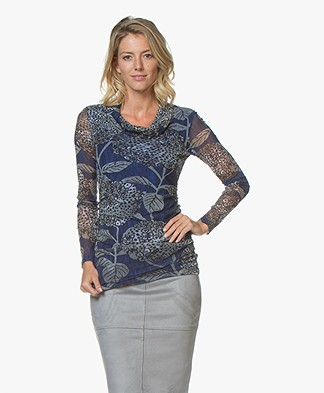 Kyra & Ko Esmay Mesh Long Sleeve with Floral Print - Blue