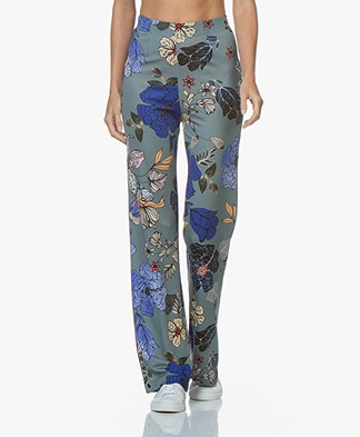 Kyra & Ko April Palazzo Pants with Floral Print - Silver