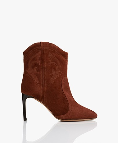 ba&sh Caitlin Suede Ankle Boots - Brandy