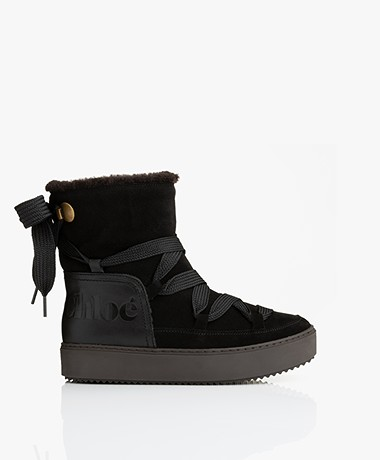 See by Chloé Suede Shearling Moon Boots - Zwart/Bruin