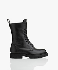 Filippa K Krisha Leather Shearling Lace-up Boots - Black