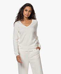 Repeat Organic Cashmere V-neck Sweater - Cream