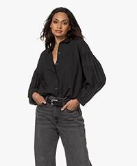 Rails Winnie Poplin Puff Sleeve Shirt - Black
