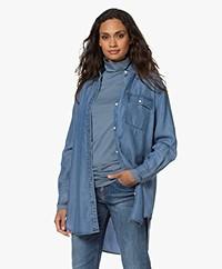 Denham Long Lyocell Denim Shirt - Blue