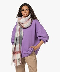 IRO Auray Alpaca Mix Scarf with Check Pattern - Red/Coral