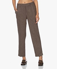 Pomandère Checked Wool Blend Pants - Dark Grey/Brown