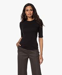 Filippa K Cotton Stretch Elbow Sleeve T-shirt - Zwart