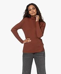 indi & cold Viscose Blend Ribbed Turtleneck Sweater - Caoba