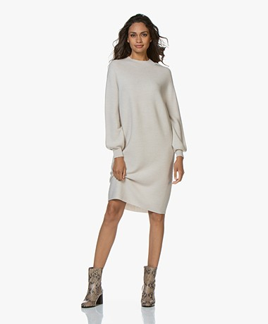 Drykorn Marisal Knitted Puff Sleeve Dress - Beige