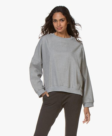 Closed Lora Cotton Flannel Sweatshirt - Light Grey Melange